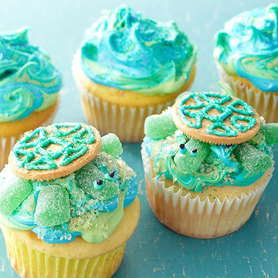 These little Sea Turtle Cupcakes will ensure your little girl's party goes swimmingly! More birthday cupcakes: http://www.bhg.com/party/birthday/cake/birthday-cupcakes-for-girls/?socsrc=bhgpin062313turtles=8 #underthesea