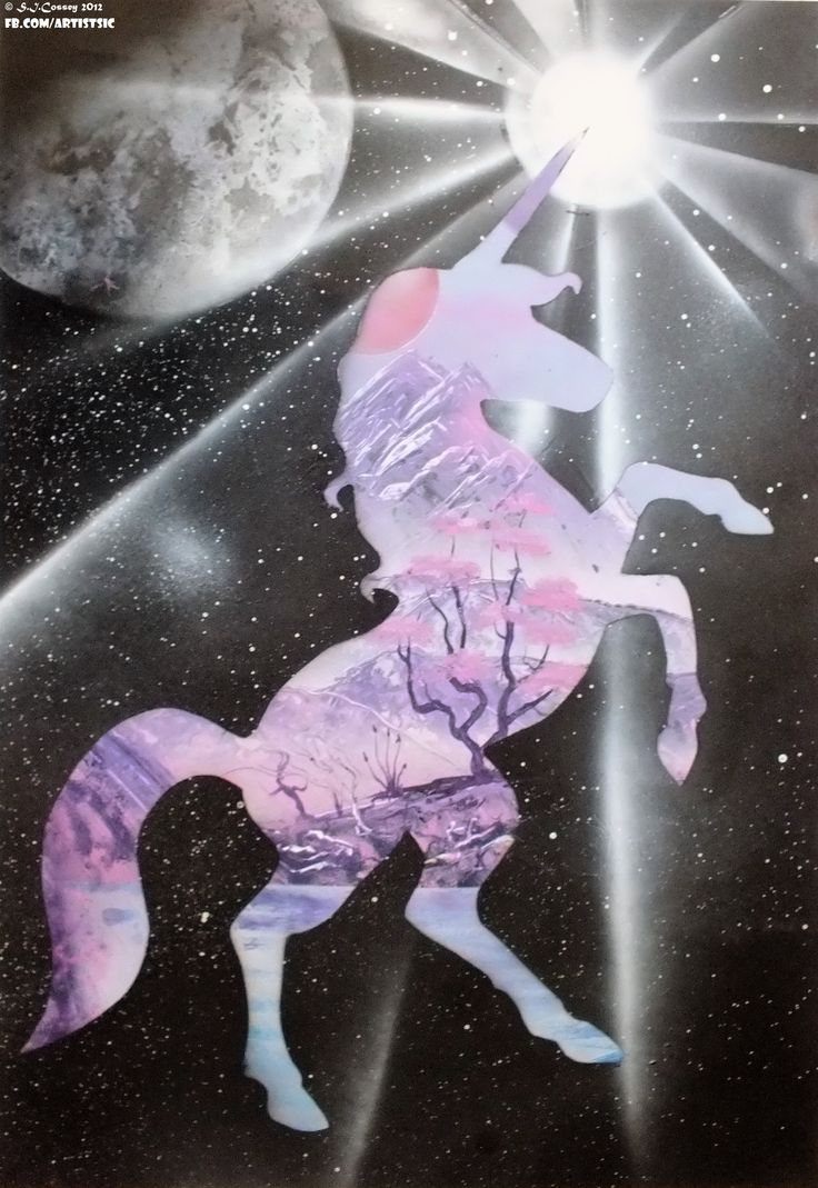 """Unicorn Enlight"" Spray Can work (on card, large). 2012."