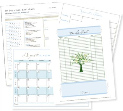 Free printable organizer - Calendar, Daily Planner, Bible Study Form (love that!)