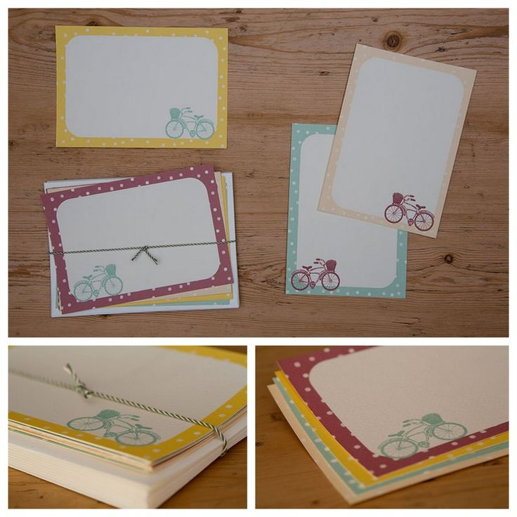 EN002-Bicycle Mint, lemon, peach and magenta polka-dot frames with a hand-drawn picture of a bicycle on every card. R150 for a set of 10 with ivory envelopes