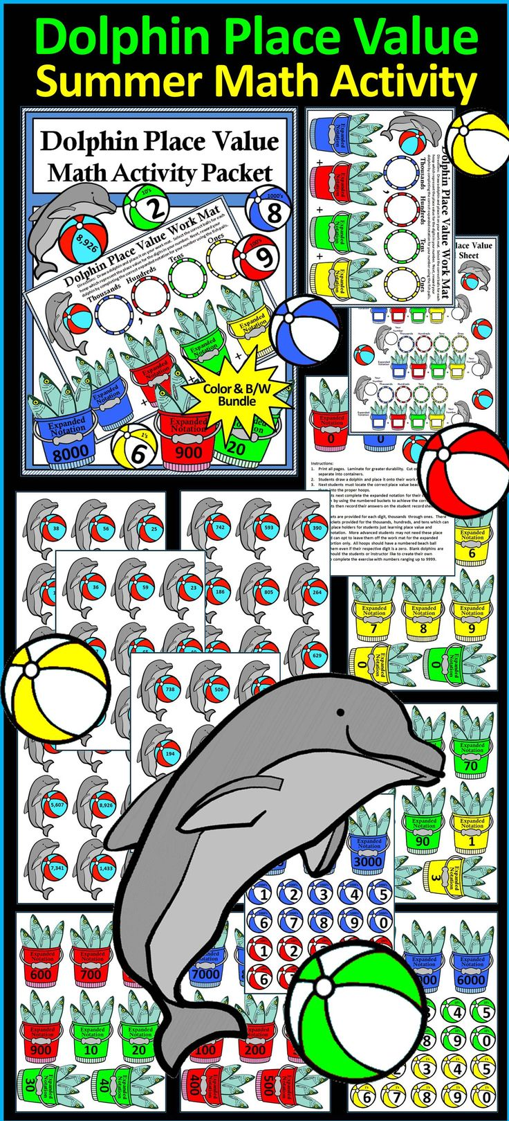 Bilingual dolphin counting card 6 clipart etc - Dolphin Math Dolphin Place Value Summer Math Activity