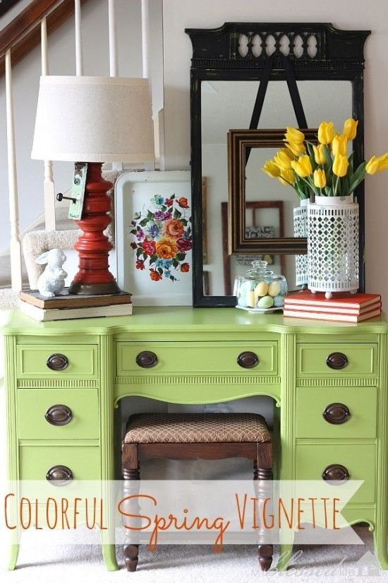 Colorful Spring Vignette Love The Desk