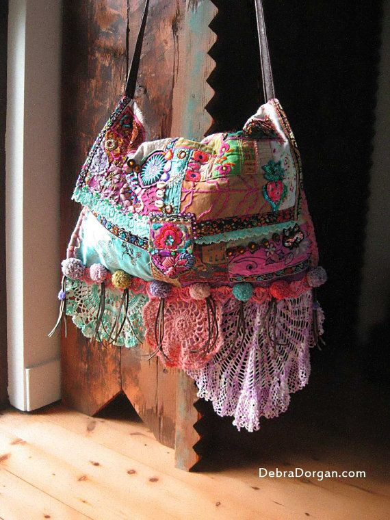 The Mekong, Bag, Antique Embroidery, Pink, Blue, Purple, Patchwork, Cross Body, Bohemian Gypsy
