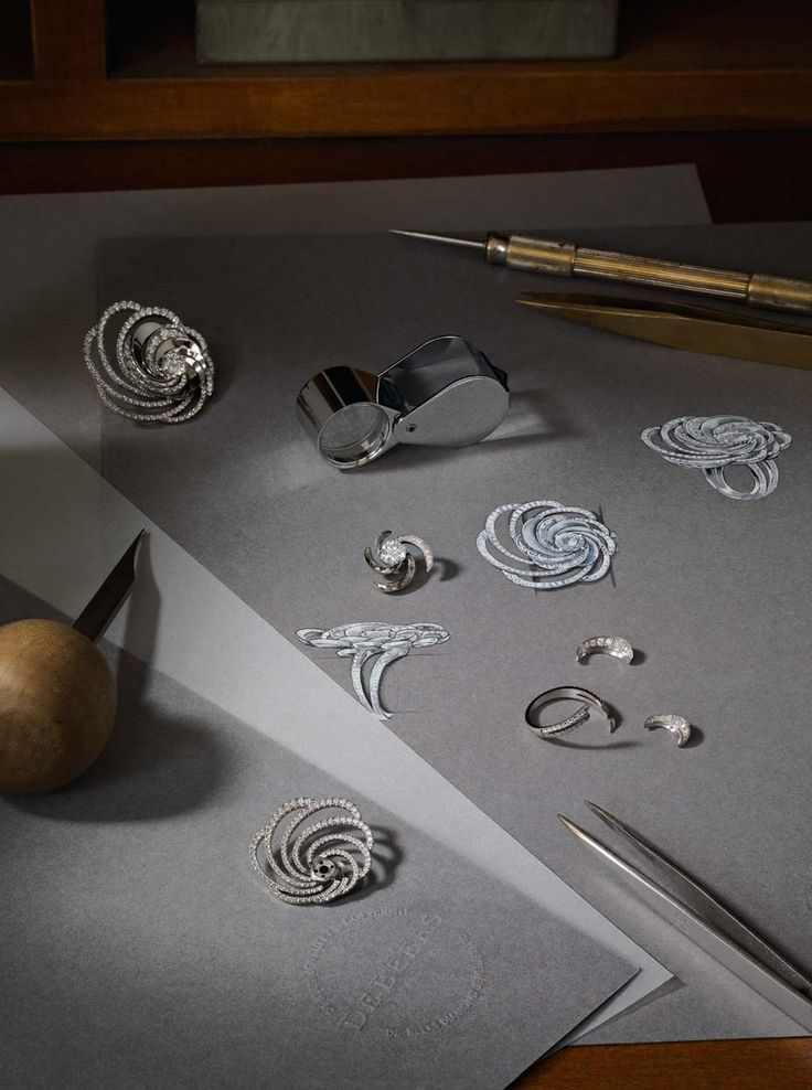 The initial sketches of De Beers' new Aria diamond jewellery collection take shape.
