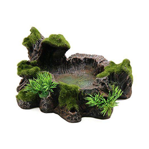 Uxcell Resin Lifelike Tree Trunk Designed Water Dish Corner Bowl
