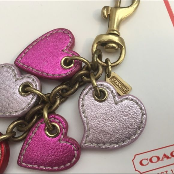 Coach heart keychain Coach keychain comes with coach box Coach Accessories Key & Card Holders