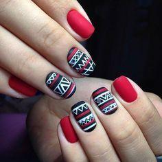 Unhas Étnicas .. Vermelho, Preto e Branco ..