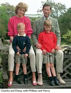 Princess Diana, Princess of Wales, with Prince Charles, Prince of Wales, and Princes William and Harry