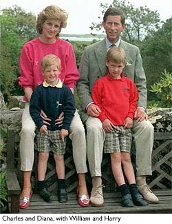 Princess Diana, Princess of Wales, with Prince Charles, Prince of Wales, and Princes William and Harry