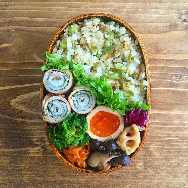 「今日のお弁当 *. セリの混ぜご飯と梅紫蘇ロールおべんでおはようございます♡ *.…」