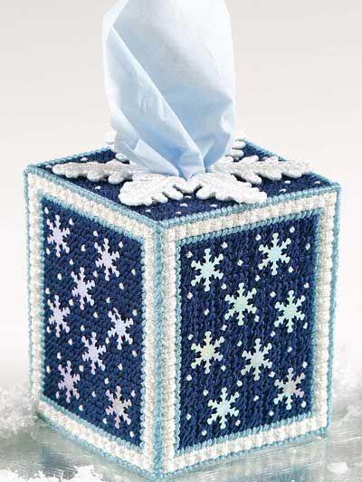 Ice Crystals Tissue Cover Technique - Plastic Canvas