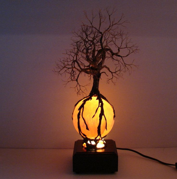 Wire Tree Of Life Ancient Spirit sculpture Autumn Harvest Moon with Wood light base... I love this <3