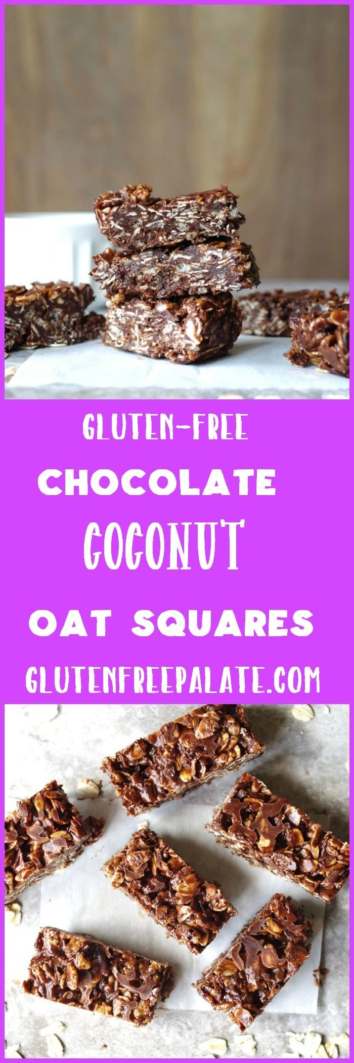 "These no bake Gluten-Free Chocolate Coconut Oat Squares remind me of a candy bar I loved growing up – ""Whatchamacallit bars"". They are easy to make, chewy, and delightful. via @gfpalate"