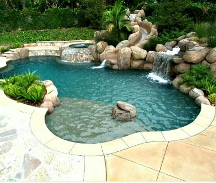 17 best images about patio landscape on pinterest fire for Pool design with slide