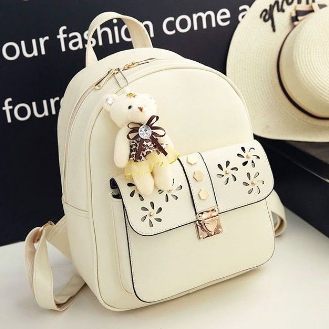Finally! I found the Cute Girl's PU Hollow Flowers Rivet College Bag Gift Bear Doll Pendant School Backpack from ByGoods.com. I like it so so much!