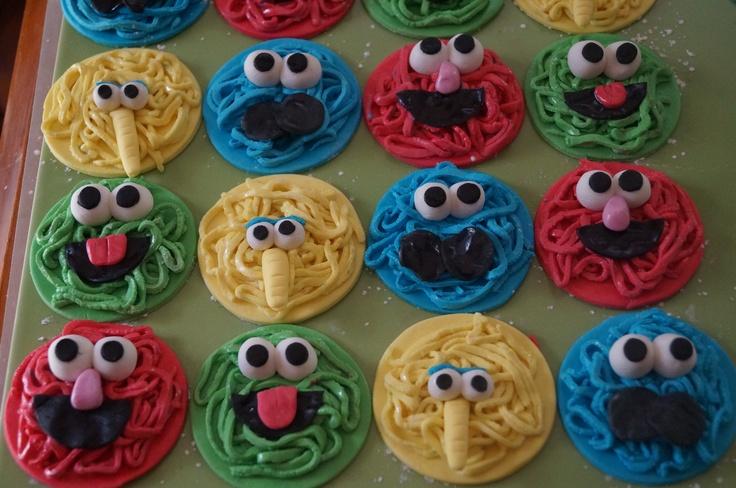 Handmade sesame street cupcake toppers
