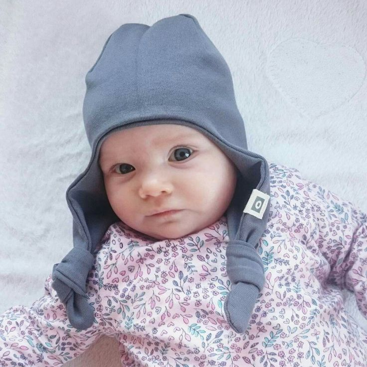 Long ear flap organic cotton beanie / baby hat