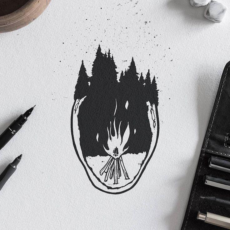 Bonfire #bonfire #illustration #penandink #graphicdesign #design #drawing #graphic #ink