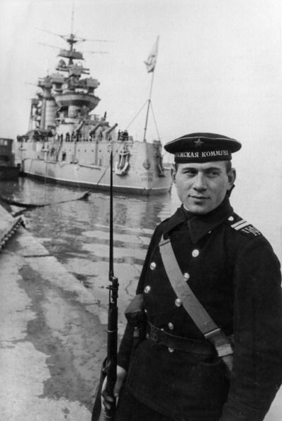 Black sea fleet a soviet sailor on watch at the battleship paris commune march…