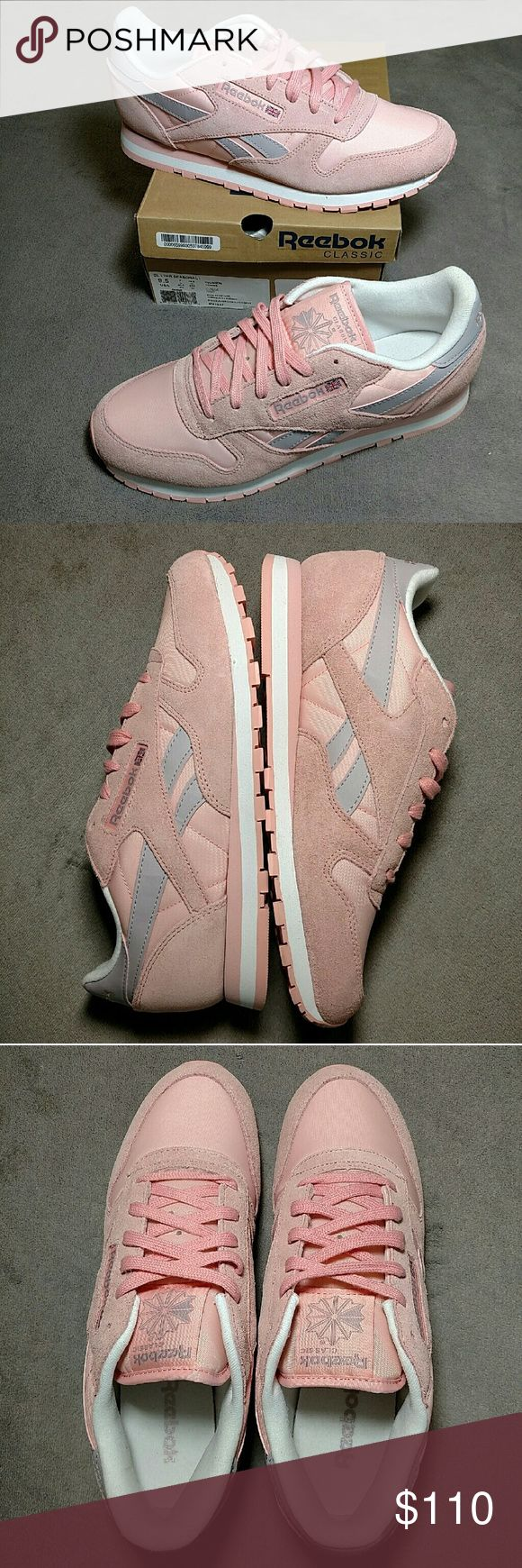 "Reebok Classic Leather Seasonal size 9.5 FOR SALE: Reebok Classic Leather Seasonal 1 in women's US 9.5 (UK 7, EUR 40.5), which is equivalent to a men's US 8.  The colorway is pink, ""lavender luck"", and white.  This shoe is totally brand new with original laces, insoles, tissue paper, and box.  These are rare and feature a nylon and suede upper. For additional photos check out my I-gram (profile: kevin15776, search for:  #kevinreebokclseason1 ). Reebok Shoes Sneakers"