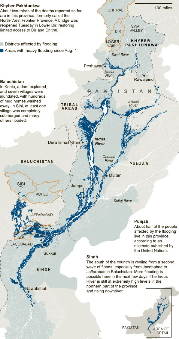 Map of the floods in Pakistan in sumer 2010.