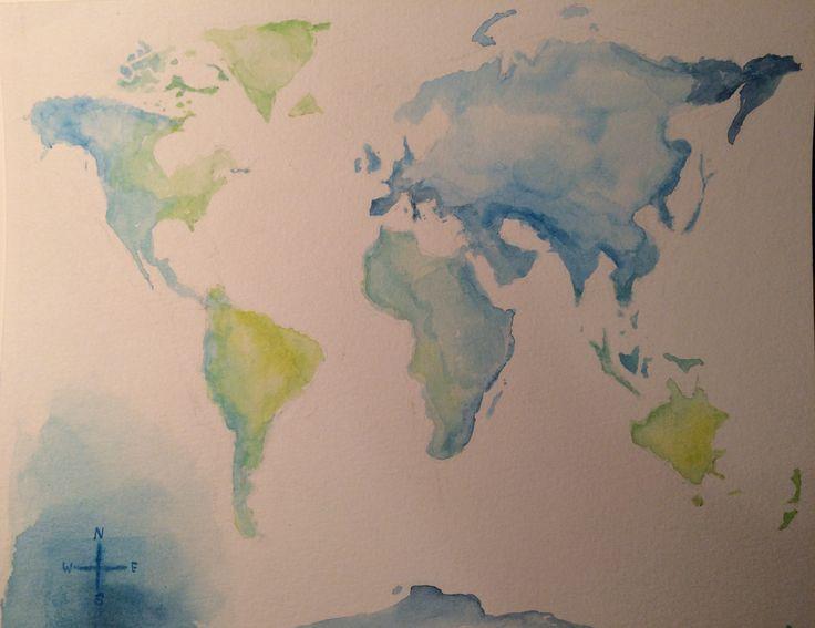 World map. Watercolour