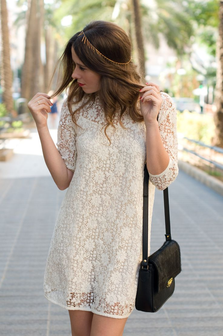 lace dress & golden headband