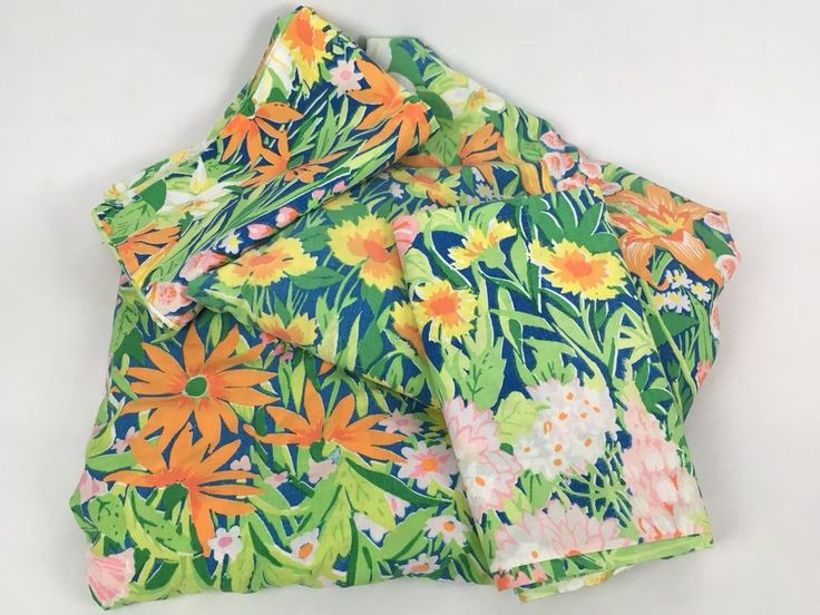 VTG Martex King Bed Sheet 4pc Set Green Tropical Floral Flat Fitted Pillowcases #Martex