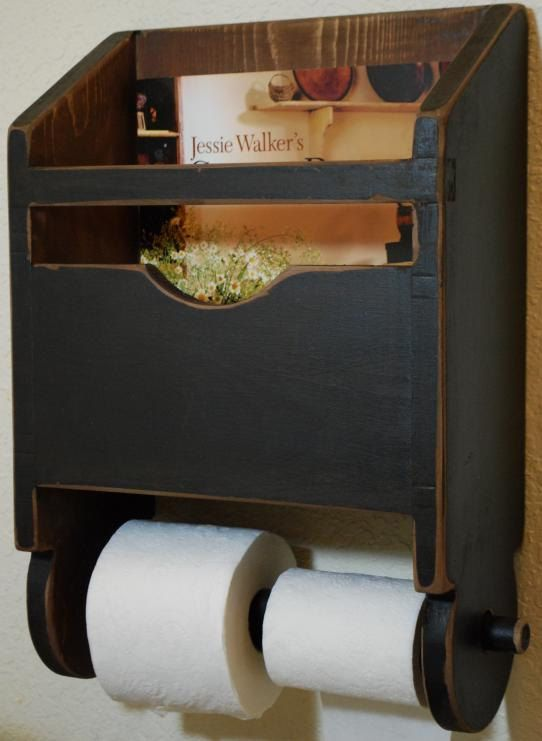 Primitive Antique Bathroom Toilet Paper Magazine Rack