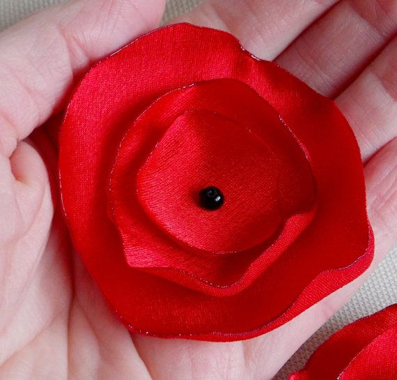 Wedding Decor Home Decor DIY Craft Satin Flowers Singed Layered Poppy Flower Set of 10 Red Bridal Fabric Flower Handmade Sewing Appliques on Etsy, $25.00