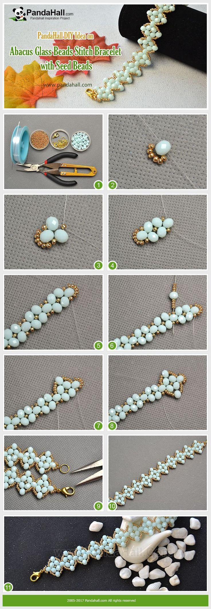 Pandahall DIY Craft on Abacus Glass Beads Stitch Bracelet with Seed Beads Use gold abacus seed beads and pale turquoise abacus glass beads to stitch a wide bracelet, and you will be surprised at the smart way! #diybracelets