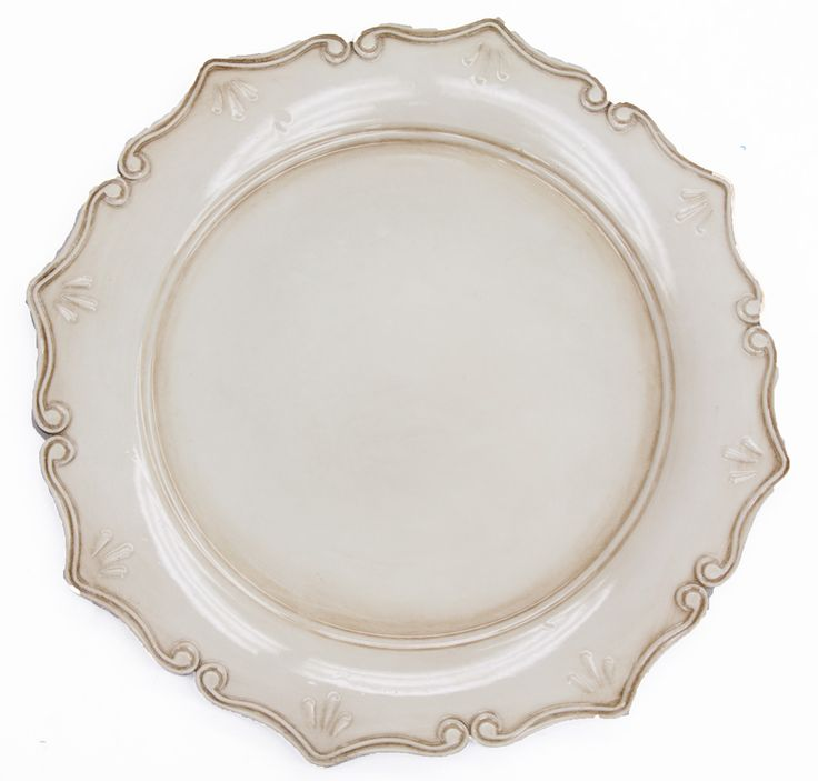 Royal Antique Charger Plate - Antique Ivory  $2.99 www.cvlinens.com     Looking to give your place settings a vintage or antiqued look? Our Royal Antique charger plate will give you an elegant and timeless look with its old world style. Perfect for a vintage, rustic, garden, Spaniard, or shabby chic wedding