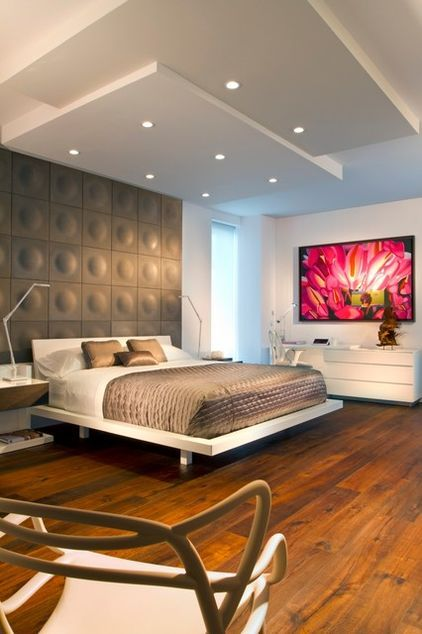 Ceiling idea.  Contemporary bedroom by Britto Charette - Interior Designers Miami Florida