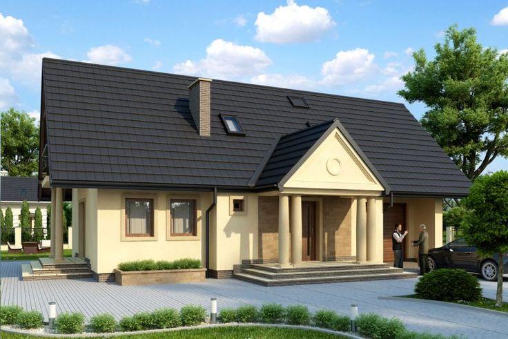 Niezwykle funkcjonalny, a zarazem atrakcyjny wizualnie projekt parterowego domu jednorodzinnego z użytkowym poddaszem to propozycja dla średniej wielkości rodziny. Podwójne kolumny zdobiące główne wejście sprawiają, że uroczy budynek przywodzi na myśl dawne dwory szlacheckie, a efekt ten potęguje zaplanowanie dużych, drewnianych okien. Projekt niezwykle korzystnie zaprezentuje się na działce z ogrodem.