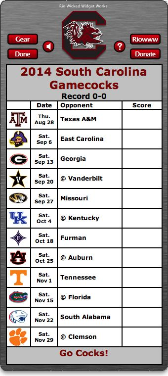 BACK OF WIDGET - Free 2014 South Carolina Gamecocks Football Schedule Widget for Mac OS X - Go Cocks!  http://riowww.com/teamPages/South_Carolina_Gamecocks.htm