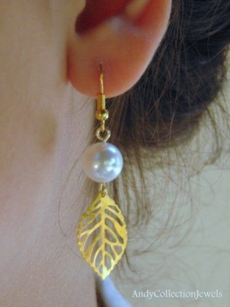 Wedding Dangling Earrings with White Mother of Pearl and Gold-tone Filigree Leafs