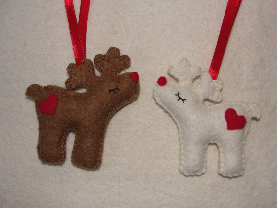 Wool Felt Reindeer Christmas Ornaments Set of 2 Felt by NitaFeltThings