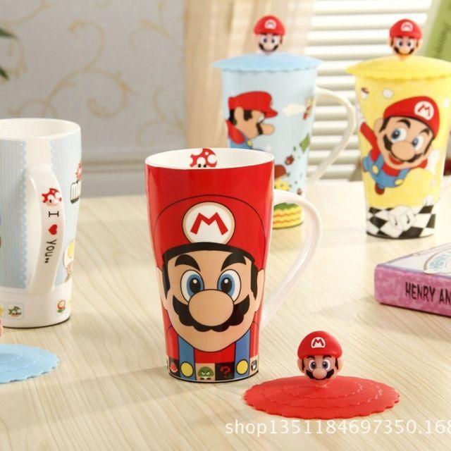 Trasporto libero nuovo 2014 zakka super mario cartone animato tazza di ceramica con coperchio di silicone/ufficio tazza di caffè/tazza di acqua/regali/decorazione domestica