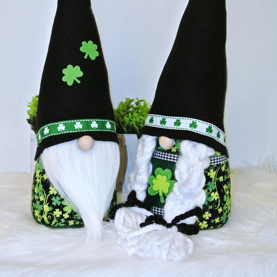 "** ""LARGE"" NORDIC ST. PATRICKS DAY GNOMES ** Listing is for one pair of Nordic Irish Gnomes (1 Ea.) Meet Finnian and his lovely bride Fiona! This adorable St. Pattys Day gnome duo will bring so much LOVE and HAPPINESS to your home. So delightful, keep them up all year round! • Stands"