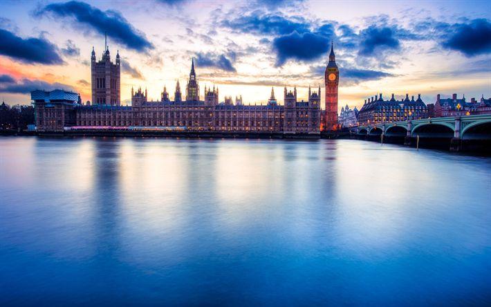 Download wallpapers Westminster Palace, darkness, Big Ben, River Thames, England, UK
