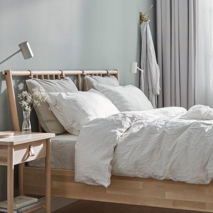 If You Re Looking For A Bugdet Friendly Scandinavian Bedroom Set The Ikea Bjork In 2020 Scandinavian Bed Frames Guest Bedroom Remodel Wood Bedroom Furniture