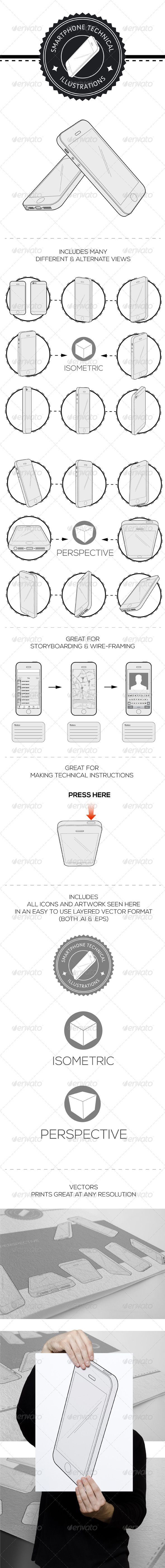 Smartphone Technical Illustration Vector Pack This pack includes many different views of the popular iPhone 5 in a vector format making them perfect for re-sizing to any scale for any design project. http://startupstacks.com/vectors/smartphone-technical-illustration-vector-pack.html - free download