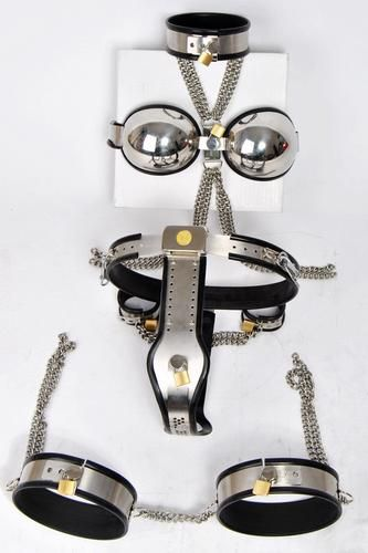 5pcs/set(Sex Slave Collar+Bra+Handcuffs+Female Chastity Belt+Thigh Ring) , BDSM SUPPLY, BDSM SUPPLY - BDSM SUPPLY