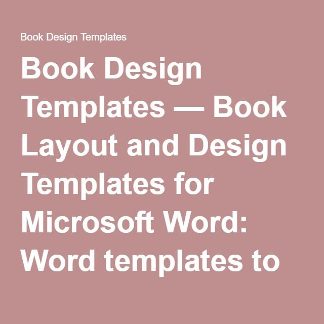 Book Design Templates u2014 Book Layout and Design Templates for - microsoft word book template free