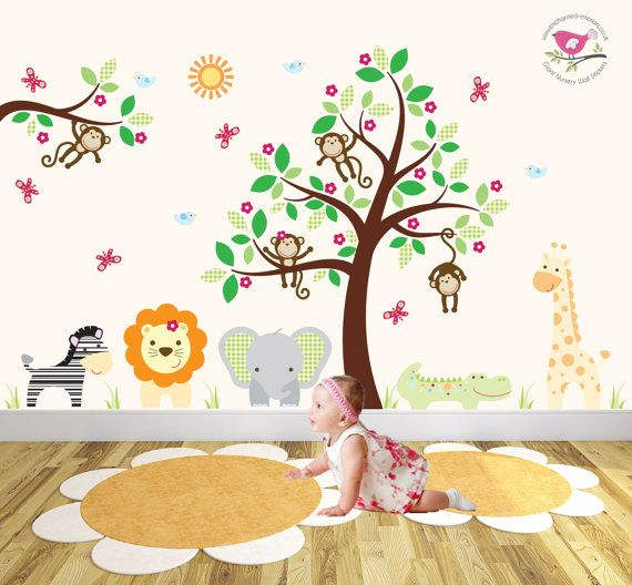 Jungle Safari Wall Decal, Friendly Nursery Animals, Elephant And Giraffe,  Lion, Monkey, Brown Tree Mural, Gender Neutral Baby Wall Stickers