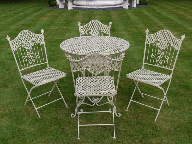 Iron Table And Chairs Part - 45: French Ornate Cream Wrought Iron Metal Garden Table And Chairs Bistro Furniture  Set