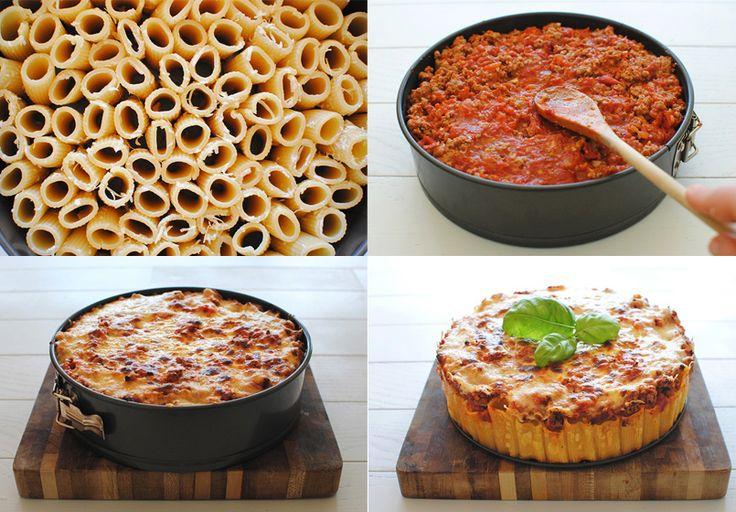 Tarta especial de pasta, la preparamos con rigatoni - Recetín