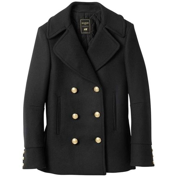 Pre-owned Balmain X H&m Pea Coat found on Polyvore featuring outerwear, coats, jackets, black, double breasted peacoat, double breasted pea coat, peacoat coat, balmain and pea coat