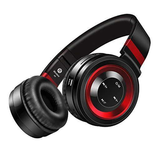 Wireless Headphones Sound Intone P6 Stereo Bluetooth Headphones with Microphone Overear Foldable Portable Music Headsets for Cellphones Laptop Tablet TV Headphones Black Red -- You can get more details by clicking on the image.