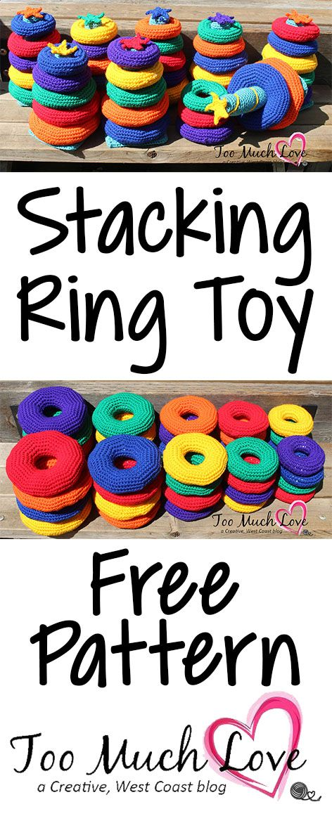Free crochet pattern for this classic, stacking ring toy. Make it in bright colours. Great baby gift!